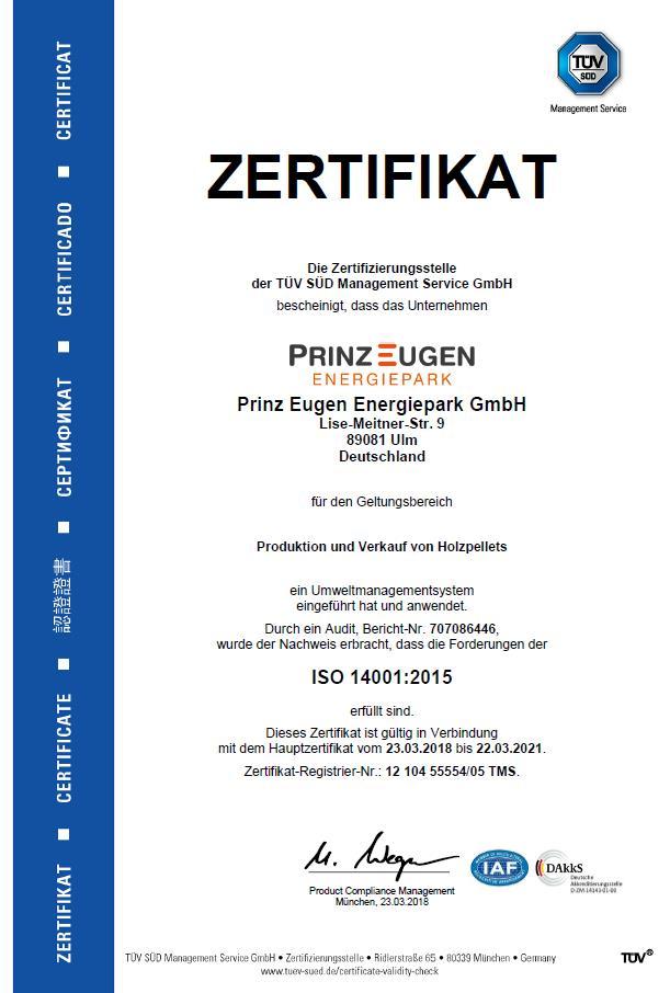 TÜV-Zertifikat Prinz-Eugen-Energiepark ISO 14001:2015