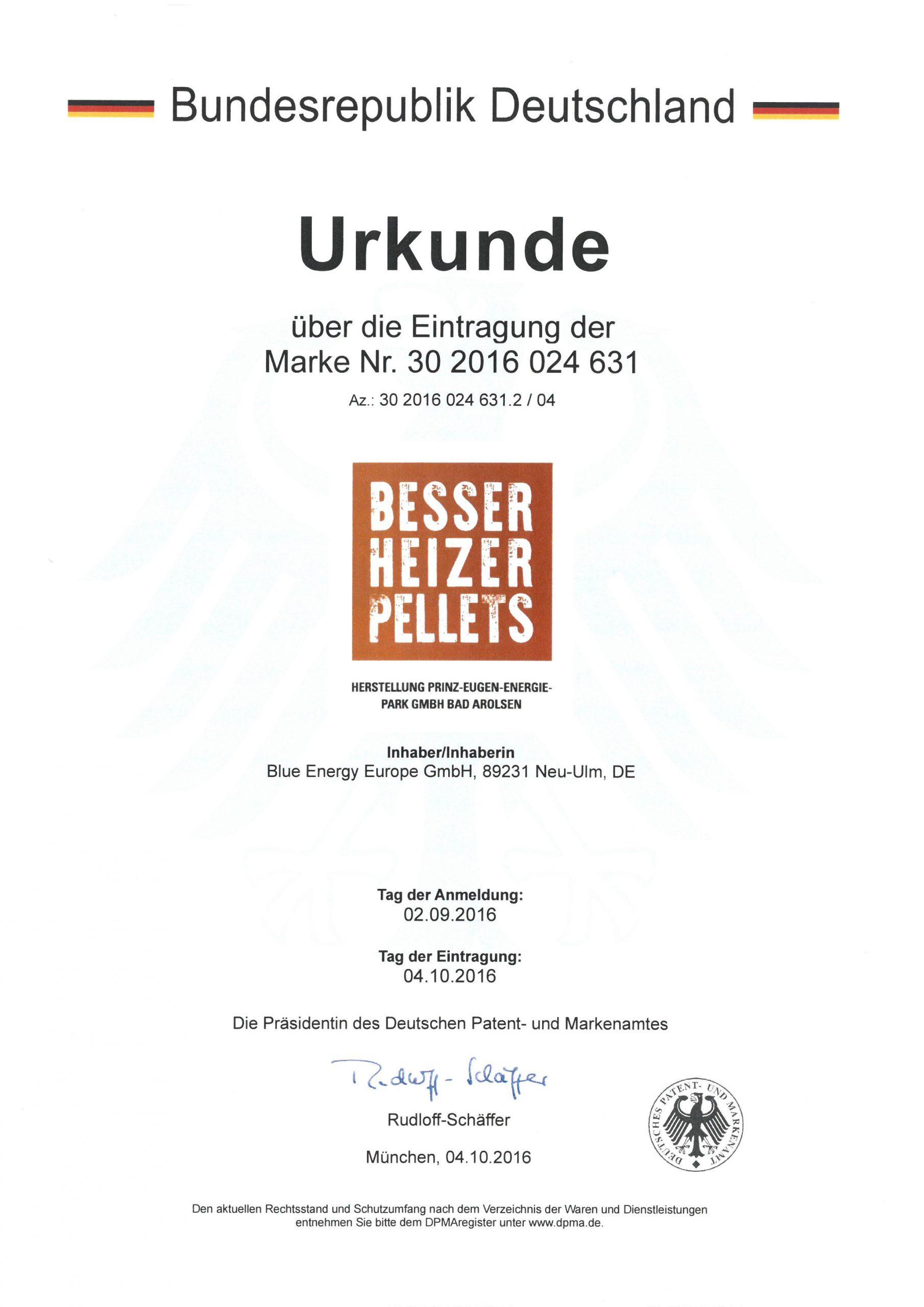 Patenturkunde Besserheizer-Pellets