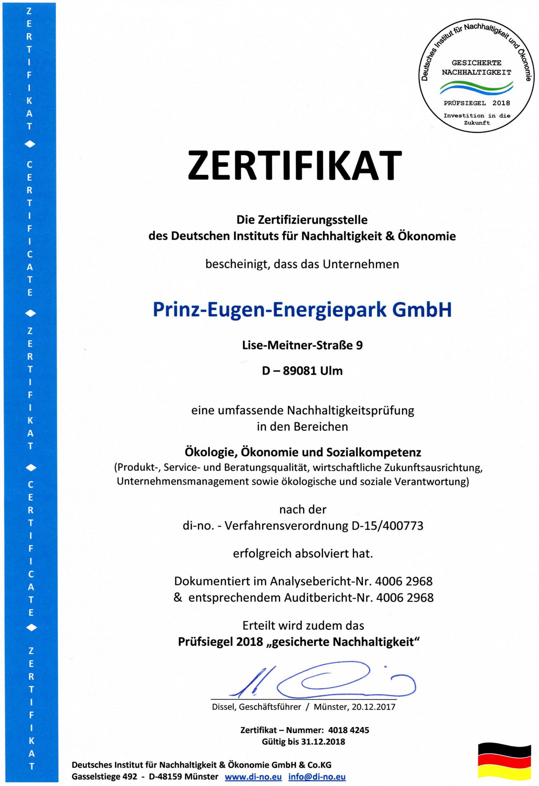 Zertifikat für Ökologie, Ökonomie und Sozialkompetenz für Prinz-Eugen-Energiepark 2018