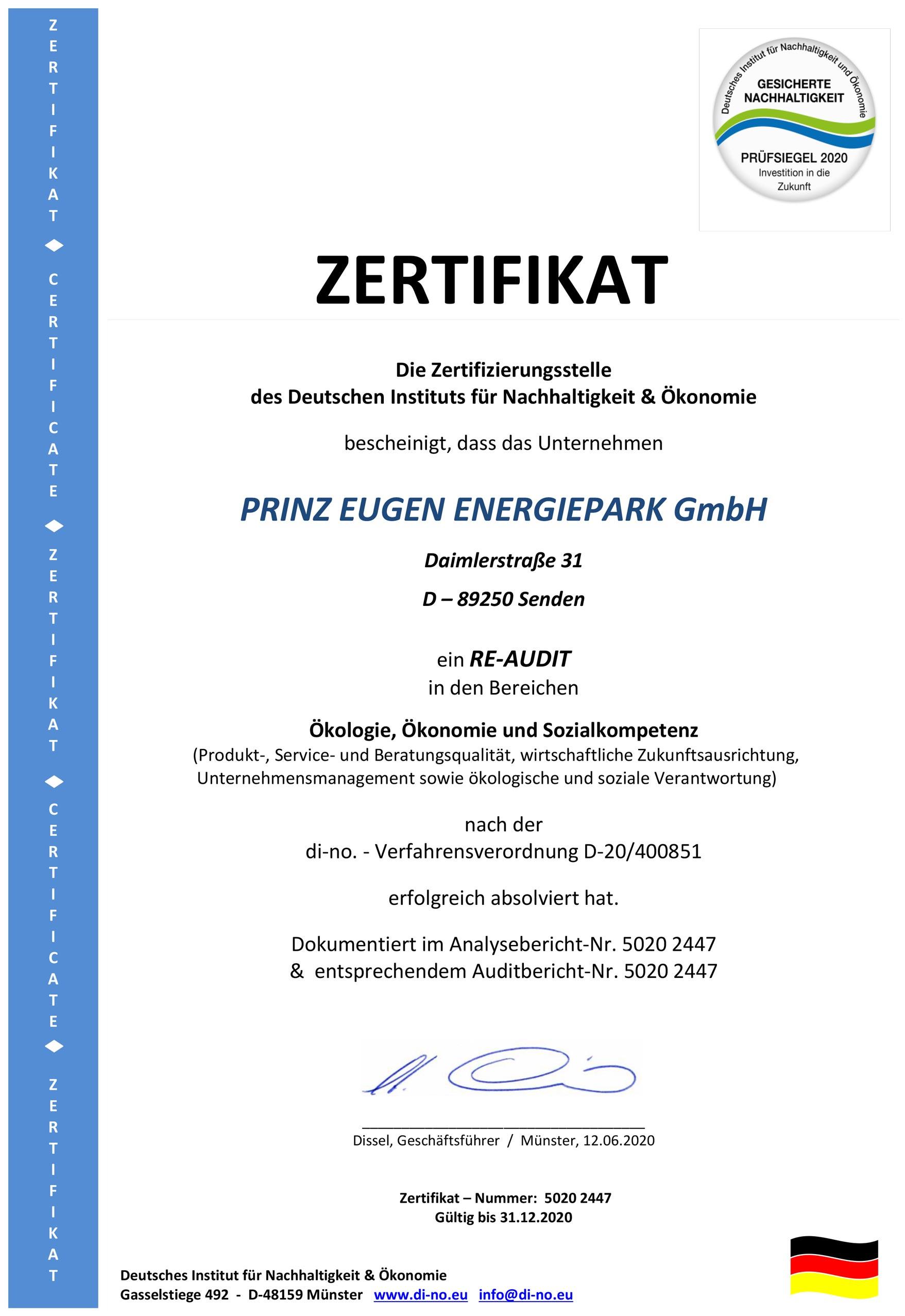 Zertifikat für Ökologie, Ökonomie und Sozialkompetenz für Prinz-Eugen-Energiepark 2020